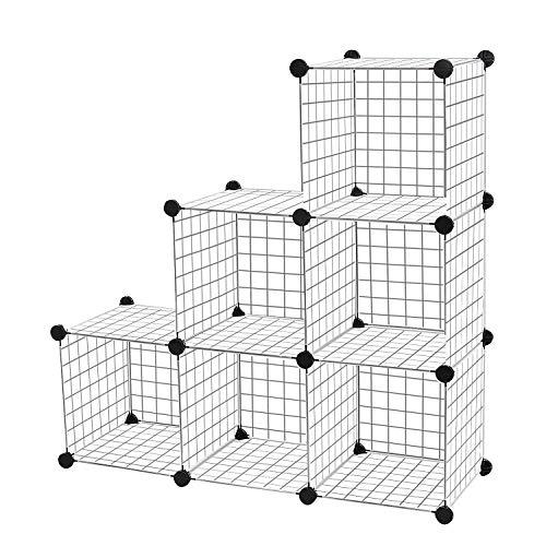 HENGMEI Regalsystem Stufenregal DIY 6 fächer Regalwürfel Drahtregal - Kleiderschrank Standschrank Raumteiler Steckregal 110 x 37 x 110cm (6 fächer,24 x Drahtgitter)