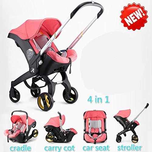 Imagen para Gpzj Cochecito de bebé 4 en 1 y 3 en 1 Cuna recién Nacida Tipo de Cuna Asiento de Seguridad para niños Canasta de Transporte para bebés Sistema de Viaje para automóvil para bebés (Azul)
