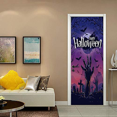 er Halloween Friedhof Zombie-Wandmalereien Dekorative DIY-Wandaufkleber-TüRen Renovierung Selbstkleber Repositionable Stoff WandgemäLde FüR Die Wohndekoration, 77 * 200cm ()
