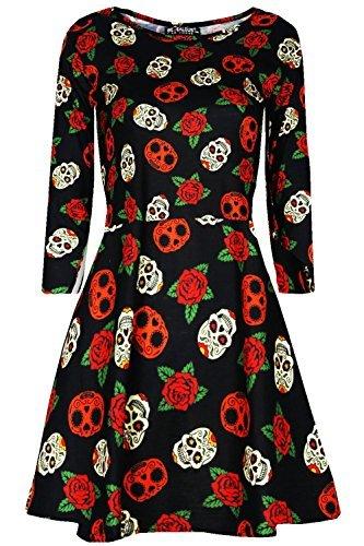 Oops Outlet Damen Halloween Gespenstisch unheimlich Horror Kostüm Swing Skater Minikleid - schwarz Schädel & Rosen, Plus Size (UK (Beängstigend Vampir Kostüme)