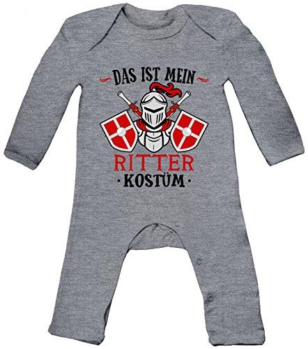 m Ritter Babybody | Verkleidung | Karneval | Fasching | Langarm | Langärmliger Strampler, Farbe:Graumeliert (Heather Grey Melange BZ13);Größe:3-6 Monate (Edel-ritter-kostüm)