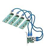 IOCrest Adaptateur de Transfert 4 Ports PCI-E x1 vers USB 3.0 Riser Adaptateur de Carte d'extension Vert