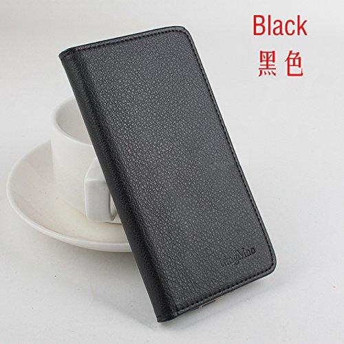 LingMao Easbuy Pu Leder Kunstleder Flip Cove Pu Leder Tasche Hülle Case Für Cubot X15 (Schwarz)