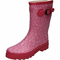 Northwest TerritoryRubber Wellington Mid Calf Boots Floral Print Pink