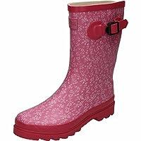 Northwest TerritoryRubber Wellington Mid Calf Boots Floral Print Pink
