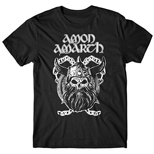 T-shirt Uomo Amon Amarth - Viking Skull - Maglietta 100% cotone LaMAGLIERIA,L , Nero