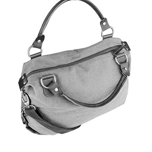 OBC ital-design XXL DAMEN STERN SHOPPER Tasche Canvas Schultertasche sportliche Stofftasche CrossOver Umhängetasche Handtasche Strass Blogger Vintage Grau