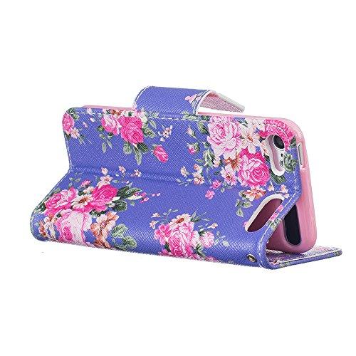 Nancen Apple iphone 7 (4,7 Zoll) Premium Leder Flip Handyhülle / Wallet Case, Blumen Landschaften Tiere und Bunt Printed Muster - Bookstyle Cover Schutzhülle mit Standfunktion, Brieftasche und Karte T Rosa Rosen