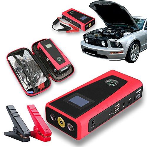Indigi®-in Pocket Power Bank 12000mAh Extern Ladegerät Extern Batterie AKKU Mobile Instant Auto Jump Starter (rot) (Instant Power Jump Starter)