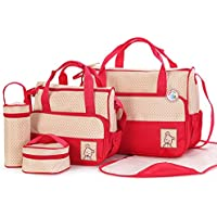 Babyhugs® 6pcs Baby Nappy Changing Diaper Bag SET with Special Bag Organiser (Red)