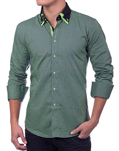 Herren Hemd · Regular Fit · Langarm Hemd · Sportliches Nadelstreifen Design · Shirt mit Stehkragen für Freizeit · Business · Casual · in Schwarz und Weiß · H1388 in Markenqualität (Herren-nadelstreifen-hemd)