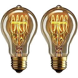 Buyee® - 2bombillas vintage incandescentes Edison de 40 vatios, luz blanca cálida, filamento de hilo estilo jaula de ardillas