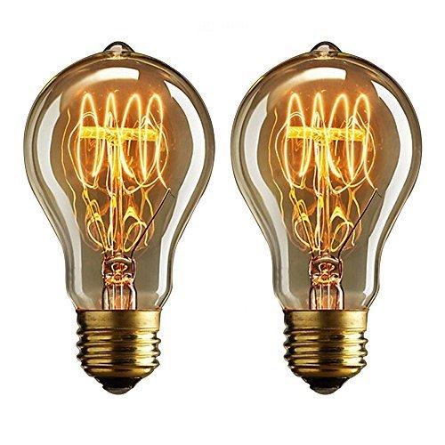 Buyee 2 Nostalgisch 40 Watt Vintage Weißglühend Edison benennen Birnen, warmes weiß, Eichhörnchen Käfig-stil Faden Filament