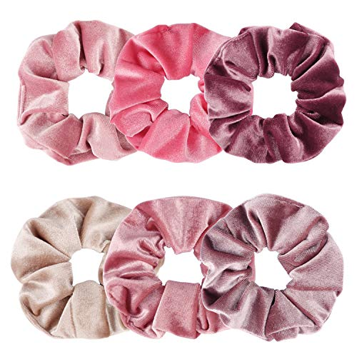 Ondder 6 Pack Velvet Scrunchies Hair Bobble Elastics Hair Scrunchy Hair Bands Headbands Women...