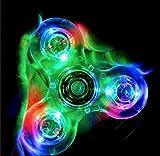 Assemble USA ACRYLIC CRYSTAL CLEAR RAINBOW LED LIGHT HAND FIDGET SPINNER CUBE TRI DESK TOY GLITTER PLASTIC
