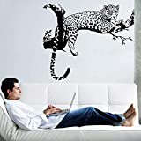 RALCAN Noir Léopard Arbre Autocollant Chambre Salon Murs Autocollants Muraux Décoration Cuisine Réfrigérateur