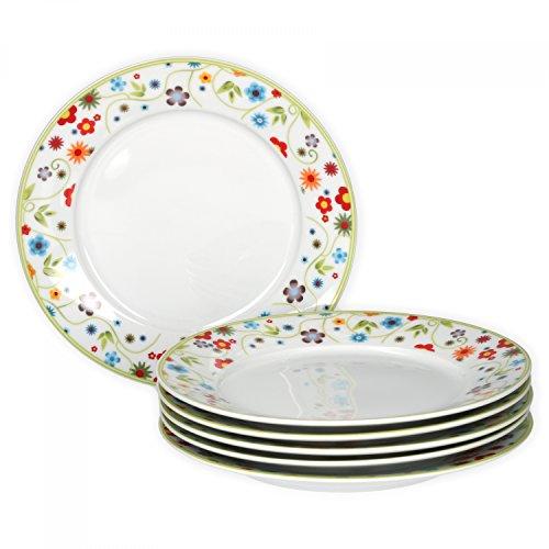 Van Well 6er Set Frühstücksteller Serie Vario Porzellan - Farbe wählbar, Farbe:flowers