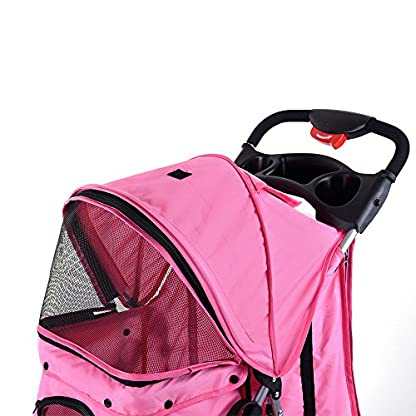 Beshomethings Dog Puppy Cat Pet Travel Stroller Pushchair Pram Jogger Buggy Carrier With 4 Wheels (Pink) 5