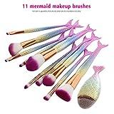 NEEDOON 11 Pièces Pinceaux Maquillage, Sirène Makeup Brushes Maquillage Brosse...