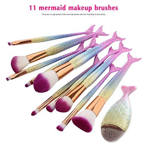 NEEDOON 11 Pièces Pinceaux Maquillage, Sirène Makeup Brushes Maquillage Brosse Ensemble Synthétique Kabuki Fondation Mélange Fard à joues Traceur pour les yeux Visage Poudre Maquillage Brosse Kit Beauté Produit de beauté Outils (2)