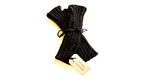 Manicotti neri da donna in pura lana vergine con delicati fili di lamè   Amazon.it  Handmade 758005ae766d