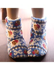 Socks ZY calcetines del piso de dibujos animados de lana de patín más gruesos de los adultos como ejemplo de terciopelo calcetines de invierno zapatos y calcetines de suela blanda cálidos. chica calcetines caseros , f , blue