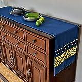 Jia He Tischläufer Tischläufer - moderner minimalistischer Esstisch Tischfahne Continental Home Baumwolle und Leinen Couchtisch Fahne Tee Tisch TV Schrank Streifen Stoff Dekoration (blau/hellblau) J