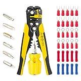 Abisolierzange, Einstellbarer automatischer Kabel-Draht-Crimper und Abisolierwerkzeug-Kit +6 in 1