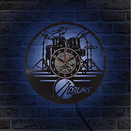 TIANZly Schallplatte Wanduhr Modernes Design Gitarrentrommel Set Wanduhr Quarz Mechanismus Kreative Led Hintergrundbeleuchtung Uhr Dekoration