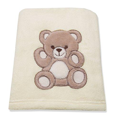 ZOLLNER® Manta para bebé/mantita de arrullo/manta para minicuna o cochecito,100x75 cm, suave manta polar coralina beige, 100% poliéster, decorada con osito, varios colores, serie'Balu'