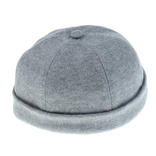 Docker-Cap Docker Mütze Seemannsmütze Baumwollmütze Hafenmütze Bikercap Basecap Motorrad - Neutrales Grau, wie beschrieben