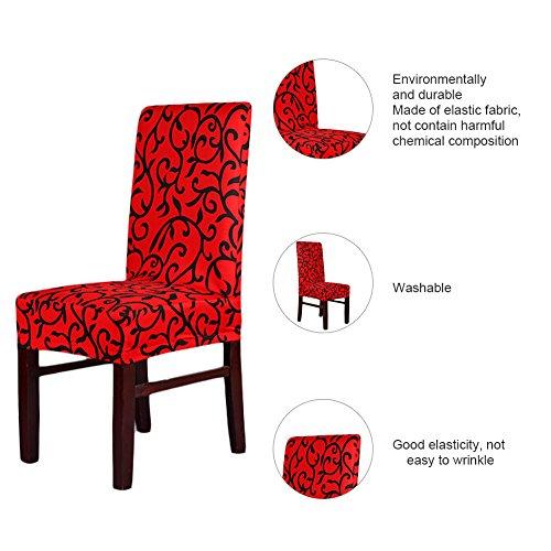 Hohe Dining Chair (Lianle Stuhlhusse Stuhlüberzug Stuhlbezug Stretch Stuhl Husse Modische Strech Dining Chair Bezug waschbar Stuhl-Abdeckung für Hotel, Haus Dekoration, Hochzeitsessen(RedBlack))