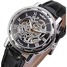 GuTe Classic Reloj de pulsera mecánico y automáticos, de estilo steampunk, con estructura plateada, color negro, unisex