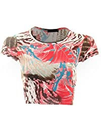 Ladies Women's Leopard Rose Wave Cap Sleeve Crop Top Midi Pencil Skirt 8-14 [Pink Tiger Top M/L]