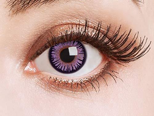 Farbige Kontaktlinsen Lila Motivlinsen Ohne Stärke mit Motiv Linsen Halloween Karneval Fasching Cosplay Kostüm Purple Doll - Devil Doll Kostüm