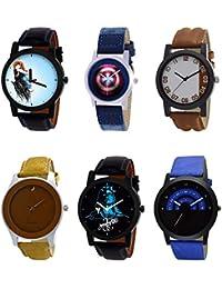 NIKOLA Modern 3D Design Mahadev Captain America Black Blue And Brown Color 6 Watch Combo (B22-B43-B39-B60-B23-...
