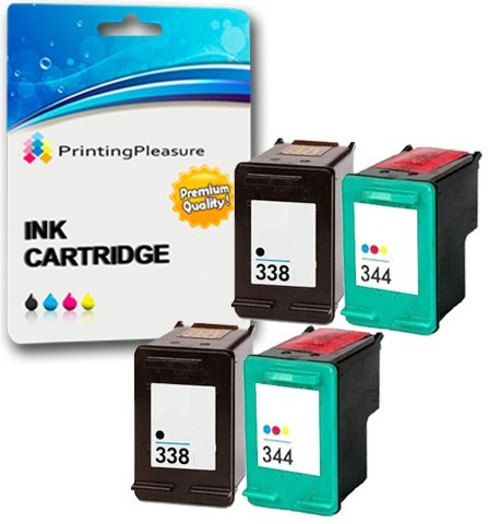 Printing Pleasure 4 Tintenpatronen kompatibel zu HP 338 344 für DeskJet 460 460c 460cb 6620 6840 9800 9860 Photosmart 2575 Pro B8330 Officejet 100 Mobile 6210 7210 7310 - Schwarz/Color, hohe Kapazität -