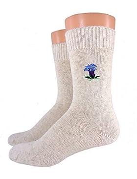 Damen/ Herren Bio Socken bestickt, Farbe:Enzian;Größe:39/42