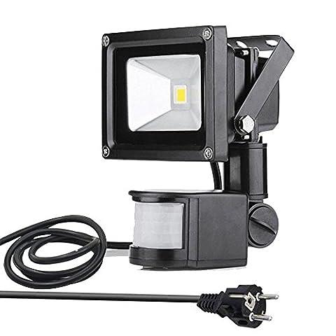 GLW 10W LED Strahler mit Bewegungsmelder, Nachtlicht Lampe, 800Lm, Kaltweiß 6000 K, Wasserfest IP65, LED Fluter Wandstrahler Außenleuchte Flutlicht Außenstrahler für Flur Garten Garage, Europäischer