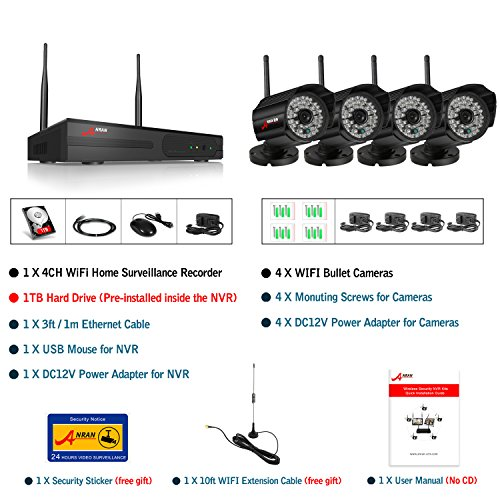 ANRAN 720P Wireless Megapixel IP Cameras 4CH WIFI NVR Wireless Security Surveillance Systems Plug and Play Indoor/Outdoor Day Night Vision 1TB Hard Drive
