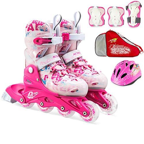 Inline Skates Flash, Einreihige Skates Für Damen Und Herren, Verstellbare Kinder-Eisschnelllaufschuhe, Blau Und Pink (Color : Pink, Size : S (EU 30-33))