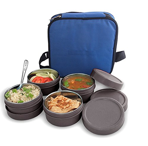 BMS MaxFresh 2in1 Steel & Polypropylene Lunch Box Set, 8 Pieces , Gray