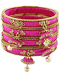 Pass Pass Exclusive Sparkling Silk Thread And Stone Studded Bangle Set For Women Set Of 12