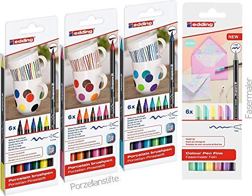 18er Komplett Set edding 4200 Porzellan-Pinselstiften