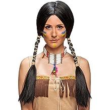 Amakando Cabello Falso Mujer de Indio Pelo de India Negro Cabellera Larga Mujer indígena Accesorio Disfraz