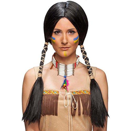 Amakando capelli finti da squaw per carnevale parrucca da indiana nera capelli lunghi donna indiana accessorio costume di carnevale capigliatura finta da pocahontas parrucchino per donne con codine