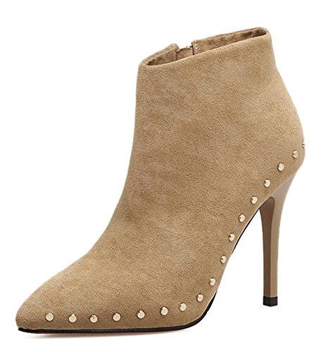 Mariage Low Bottines Aisun Boots Rivets Abricot Femme Style Mode wwY7qa