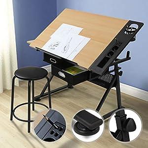 MIADOMODO® Zeichentisch mit Hocker – Tischplatte stufenlos neigbar, 2 Schubladen/Arbeitsflächen, Holzoptik Schwarz…