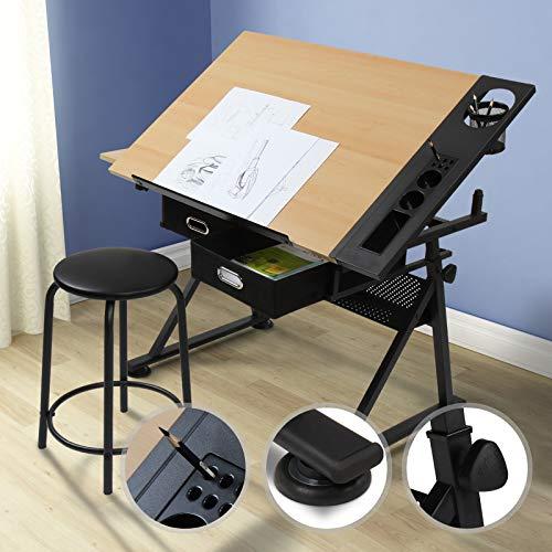 Zeichentisch mit Hocker | stufenlos, neigbar, mit 2 praktischen Schubladen und doppelter Arbeitsfläche, für Architekten und Techniker | Schreibtisch, Bürotisch, Arbeitstisch, Architektentisch (Zeichenbrett)