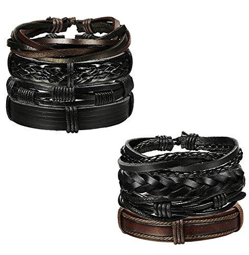 Sailimue 8 Pcs Pulsera de cuero para hombres Mujeres Cordón ajustable Pulseras brazalete de joyería trenzada